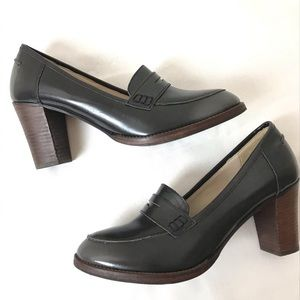 Boden Black Leather Penny Loafer Stacked Heels 10